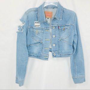 Levi's Crop Distressed Denim Jacket